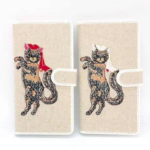 【Lサイズ 7ポケット】サビネコ猫又手帳マルチスマホケース【ドット箔プリント】【Android & iPhone】