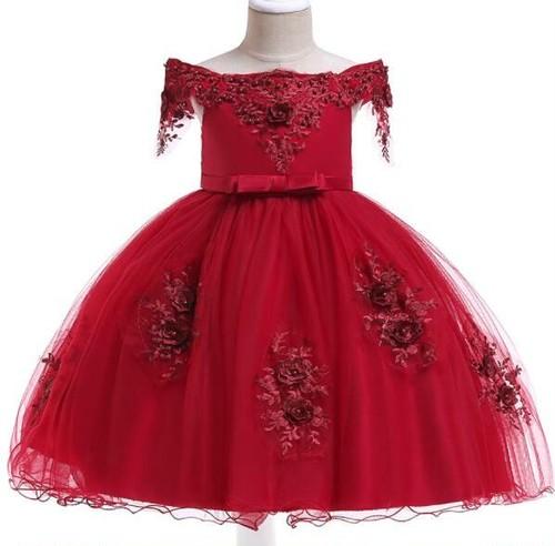 8490子供ドレス キッズドレス ベビー ジュニア 女の子ドレス フォーマルドレス パーティードレス 発表会 誕生日 赤110cm-150cm