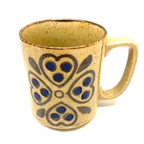 青いハートの花のマグカップ(SA289)
