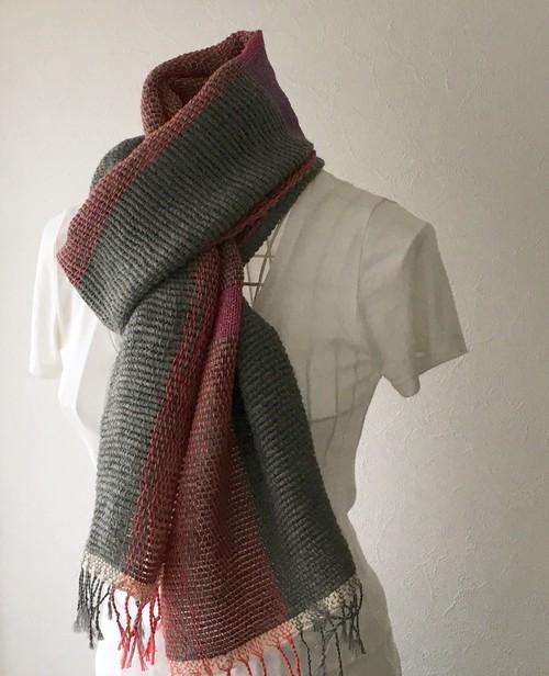 """【ウール&綿:秋冬】ユニセックス:手織りマフラー """"Gray & Pink"""""""