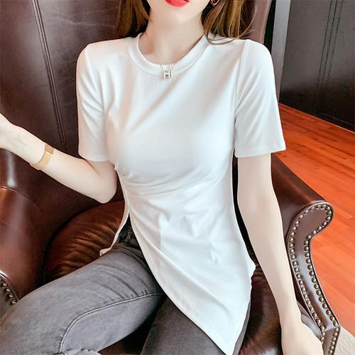 【tops】レディースファッションスリット高級感 シンプル無地6色Tシャツ   M-0403