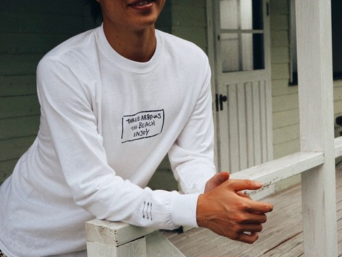 (Fin12月号掲載)THREEARROWS BOX LOGO L/S TEE(white)