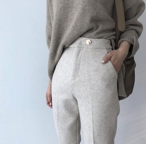 ベーシックウールタックパンツ タックパンツ 韓国ファッション
