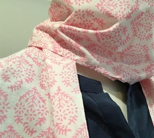 ブロックプリントのコットンスカーフ(ピンク・グリーン)