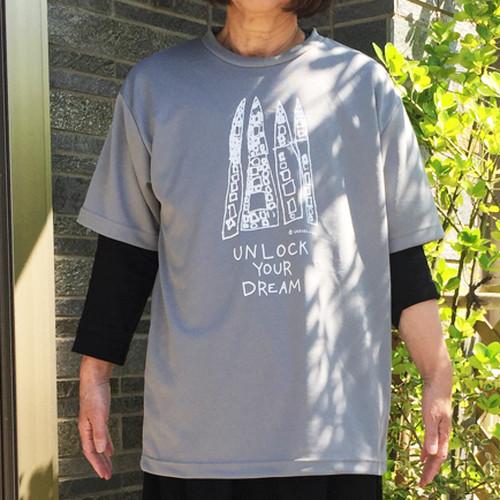 ドライTシャツ メンズLサイズ(グレー/紺)