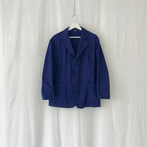 FRANCE 60s~vintage ink blue cotton twill lapelled work jacket