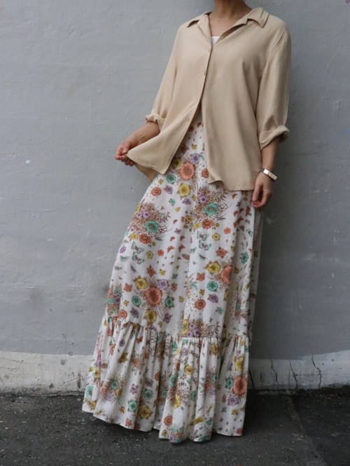 70's flower full-length ruffled skirt