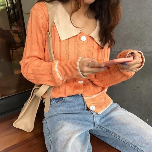 【送料無料】華やかバイカラー♡ ニットカーディガン ポロシャツ風 襟付き リブ