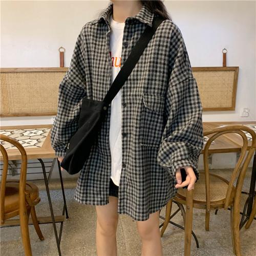 【アウター】新作韓国風長袖チェック柄厚いデザイン感合わせやすいコート