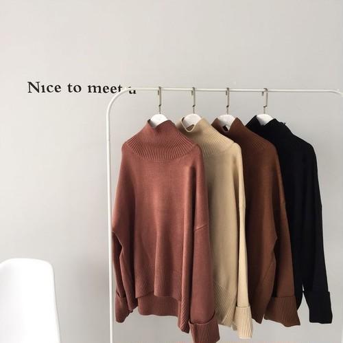 【送無】*予約*4color:Long sleeve High neck Loose Knit   オーバーサイズ ニット ロング袖 ゆるニット
