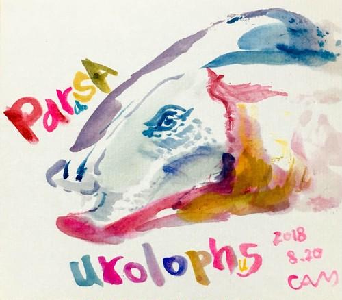 【恐竜原画】パラサウロロフス【水彩画】