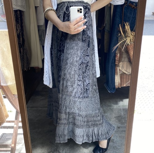 Embroidery rayon long skirt