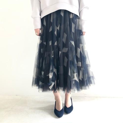 【 ROSIEE 】- 18273614300 - ジオフラージュ柄チュールスカート