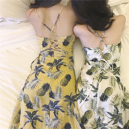 【お取り寄せ商品】pineapple print dress 6035