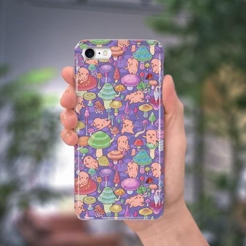 スマホケース(iPhone & Android)キノコ / 色:パープル