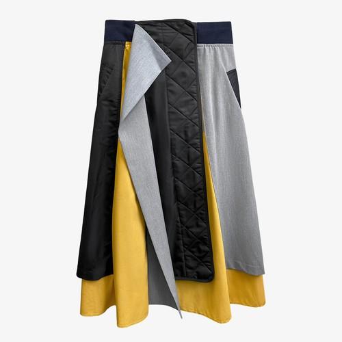 キルティングパッチワークロングスカート(Yellow,Khaki) 16990