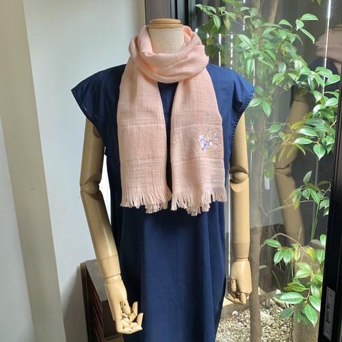 タオルマフラー 桜刺繍 桃色(pale pink)