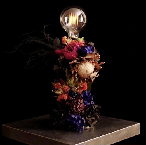 red rose & black purple hydrangea  lamp