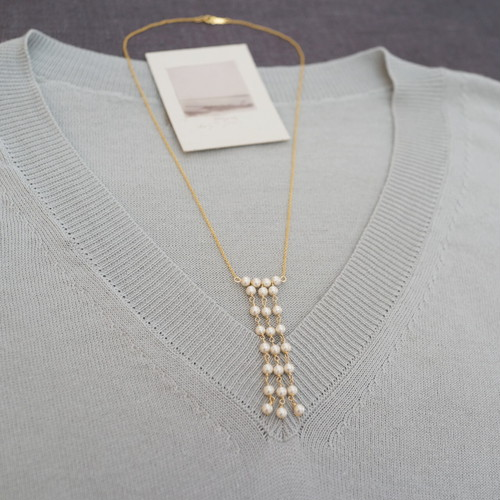 cottonpearl necklace 14kgf
