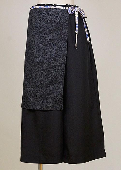 gouk侍 波プリントの巻きスカートがついたパンツ GGD27-P816 BK/MM