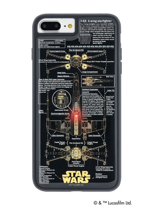 FLASH X-WING 基板アート iPhone7/8Plus ケース 黒 【東京回路線図ピンズをプレゼント】