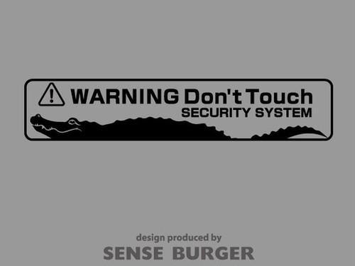 1枚 SECURITY SYSTEM WARNING WARNING Don't Touch ステッカー カッティングシート デカール シール ワニ ワーニング 車用 注意 触るな危険 セキュリティ 黒 ブラック 【sti02411blk】