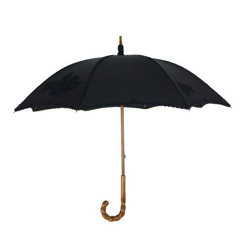 日傘アップリケレース 麻生地 ねじりハンドル