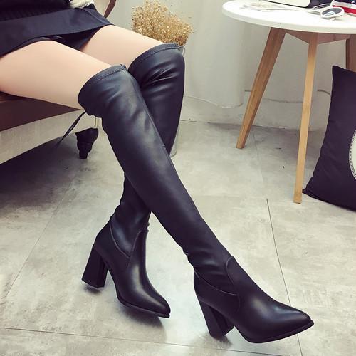 【シューズ】超人気ファッションポインテッドトゥハイヒールロング丈ブーツ23286526