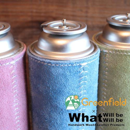 What will be will be & Greenfield スウェード レザー CB缶 カセット ガス 缶 レーザー カバー ハンドメイド レザー 本皮 アウトドア wb0050