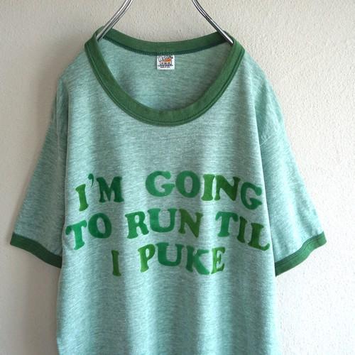 1970's USA製 [Hanes] フェルトプリント リンガーTシャツ 杢グリーン 表記(M) ヘインズ