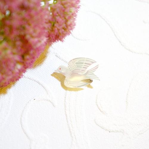 70's マザーオブパールの小鳥 ヴィンテージブローチ   [BV-100]