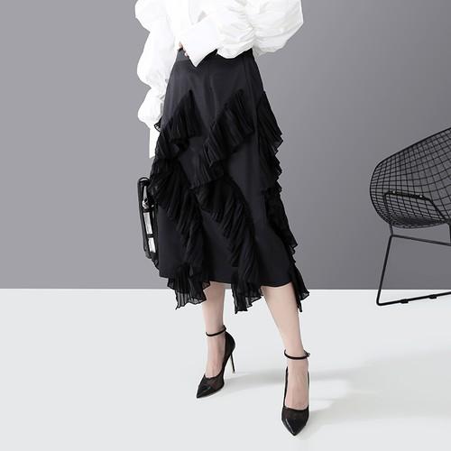 モード系 スカート ミモレ丈 ラッフルスカート フリル ギャザー 大人きれいめ フェミニン 20代 30代