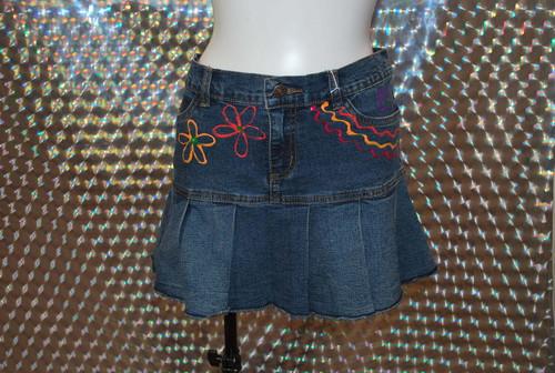 pompom original denim skirt