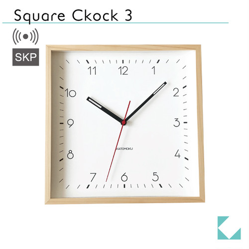 KATOMOKU Square clock 3 ナチュラル km-114NARCS SKP電波時計