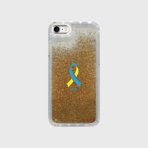 iPhone7 グリッター ゴールド ダウン症候群アウェアネスリボンデザイン