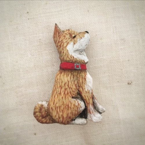 ブローチ 柴犬  (Pin resin brooch  Sibainu)