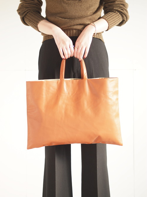 Leather tote bag (M)/Brown