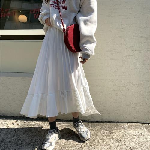 2色 アシンメトリー プリーツスカート ロング丈 ホワイト ブラック 大人可愛い トレンド レディース ファッション 韓国 オルチャン