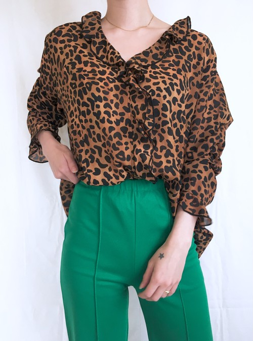 vintage leopard frill blouse