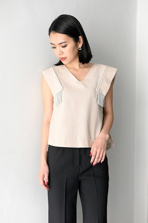 ROOM211 / Fringe sleeveless PO