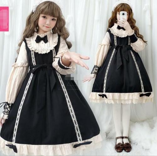 9915ロリータ衣装 ロリータ服 可愛い 少女風 ワンピース 黒 長袖 lolita