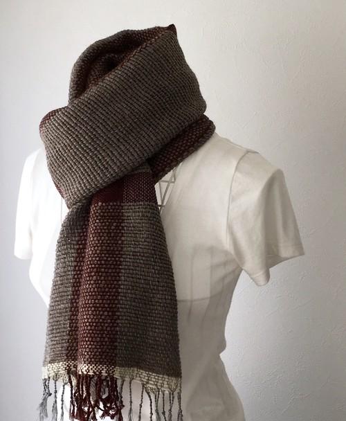 """【ウール&カシミヤ:秋冬】ユニセックス:手織りマフラー """"Gray & Brown 3"""""""