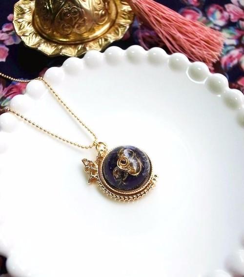 オルゴナイト×宇宙塗り 地球儀のネックレス