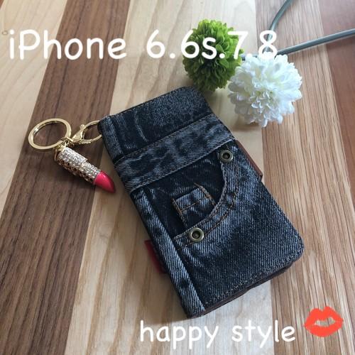 iPhone 6.6s.7.8共通手帳型iPhoneケース★リップホルダー付き