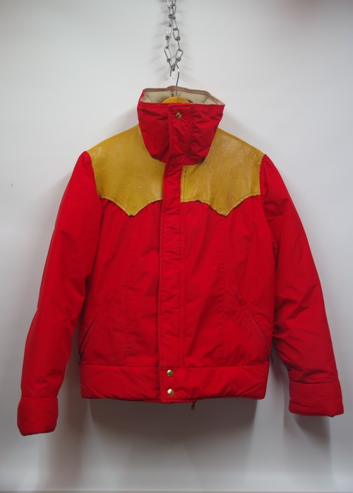 70's Rocky Mountain FEATHERBED GORE-TEX MOUNTAIN PARKA(RED×茶レザーの好配色,ウエスタンヨーク)