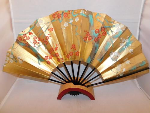 梅と秋草の飾り扇(ビンテージ) ) plum and autumn flowers pattern vintage fun(made in Japan)(No36)