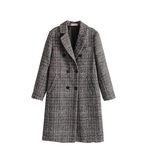【お取り寄せ】 コート グレンチェック ウールコート ロング アウター 防寒