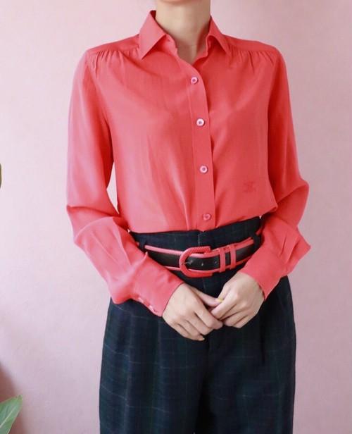 CELINE red silk blouse