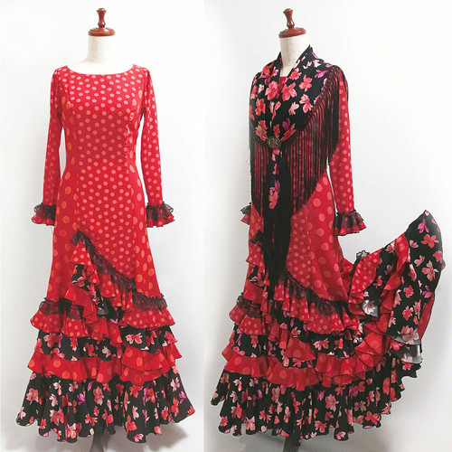 MF-Remedios ワンピース&マントンシージョ / 赤・黒系 スペイン製・Marina moda & flamenca