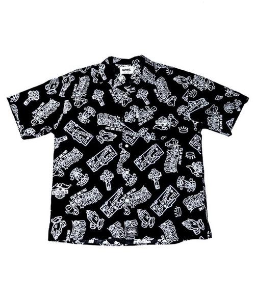 [予約商品]RAKUGAKI NEON Logo Aloha Short Sleeve Shirts